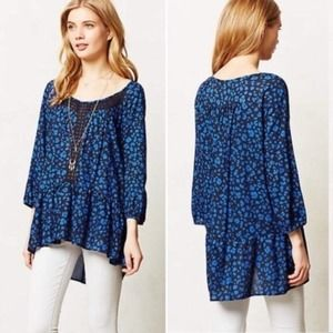 Anthropologie ruffled hem high low top blue small